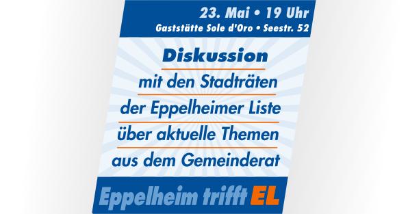 Einladung zur öffentlichen Gesprächsrunde am 23. Mai 2018, 19 Uhr, in der Gaststätte Sole d'Oro, Eppelheim