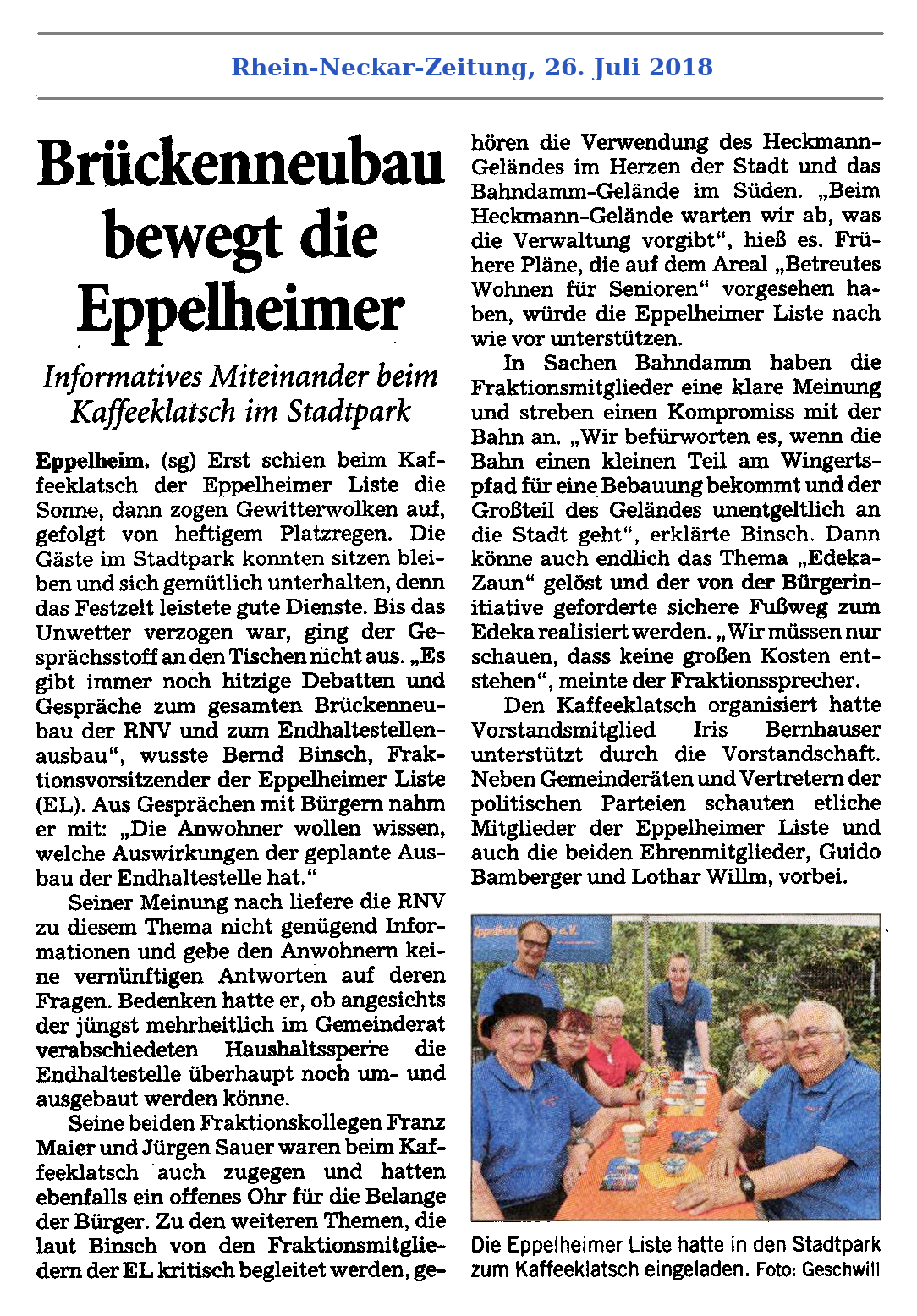 "Rhein-Neckar-Zeitung, 26. Juli 2018: Kaffeeklatsch – ""Brückenneubau bewegt die Eppelheimer"""