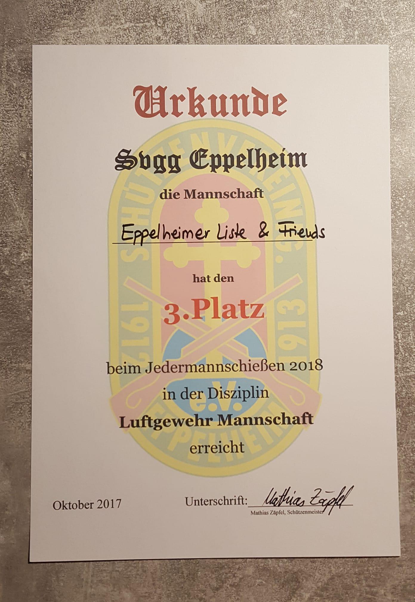 Eppelheimer Liste and Friends: Urkunde 3. Platz beim Jedermannschießen