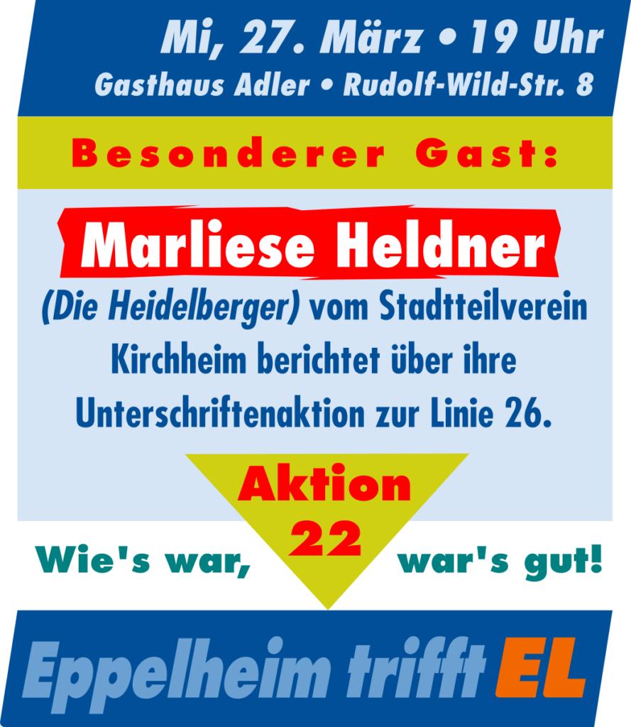 AKTION 22: Marliese Heldner (Die Heidelberger) berichtet von ihrer erfolgreichen Unterschriftenaktion mit der Forderung zur Korrektur der Straßenbahnlinie 26.