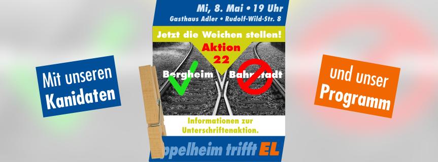 Öffentliche Gesprächsrunde am Mittwoch, 8. Mai 2019 um 19 Uhr: Unterschriften-Aktion 22, Kandidaten, Programm