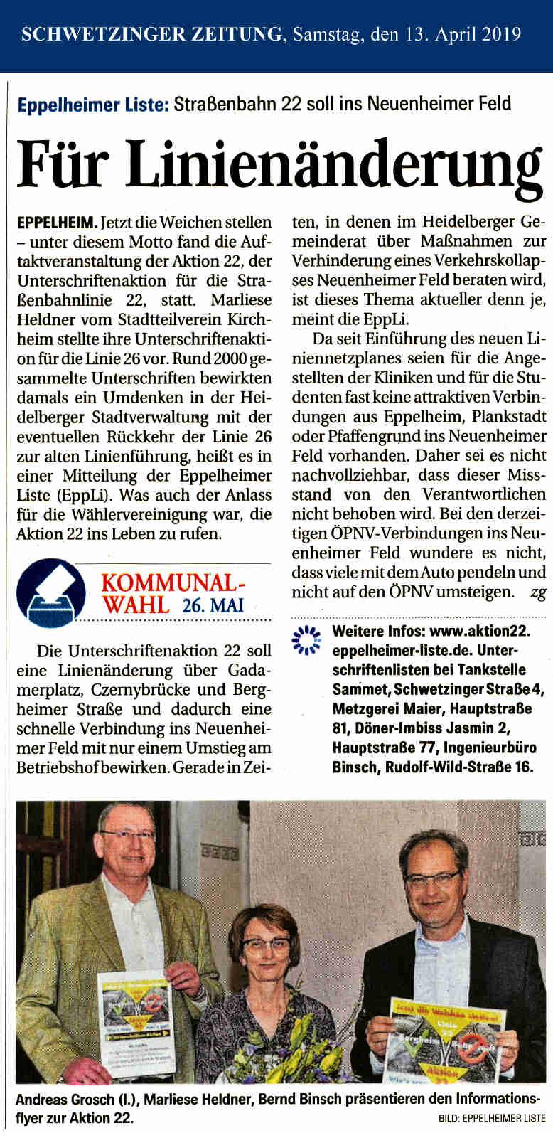 Schwetzinger Zeitung: Auftaktveranstaltung zur Aktion 22 – Linie 22