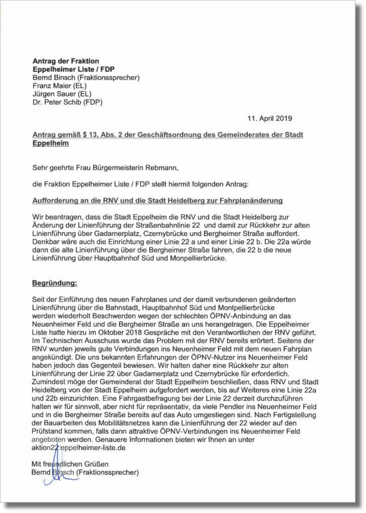 Antrag zur Aufforderung seitens der Stadt Eppelheim an RNV und die Stadt Heidelberg zur Änderung der Linie 22 über Heidelberg-Bergheim