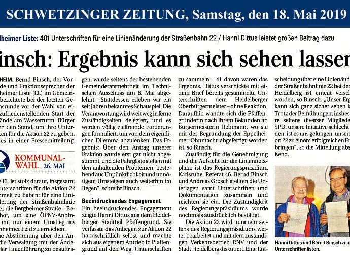 Schwetzinger Zeitung: Unterschriftenübergabe zur Aktion 22 – Linie 22