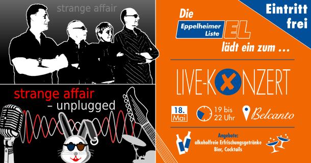 Wahlparty mit der Eppelheimer Liste und »Strange Affair Unplugged« am 28. Mai um 19 Uhr im Belcanto