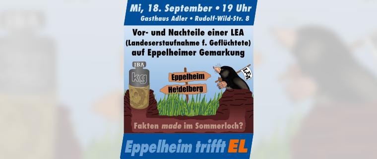 Einladung zur öffentlichen Gesprächsrunde am 18. Sept. 2019: Vor- und Nachteile einer LEA (Landeserstaufnahme f. Geflüchtete) auf Eppelheimer Gemarkung