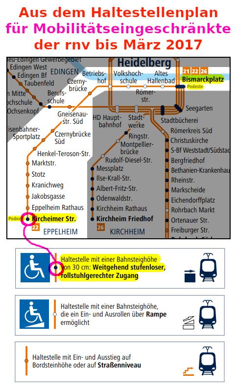 """Aus dem RNV-Haltestellen-Prospekt bis 2017: """"Eppelheimer Endhaltestelle barrierefrei"""""""