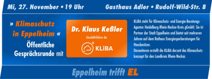 """Öffentliche Gesprächsrunde mit Dr. Klaus Keßler von der KLiBA am 27. November 2019: """"Klimaschutz in Eppelheim"""""""