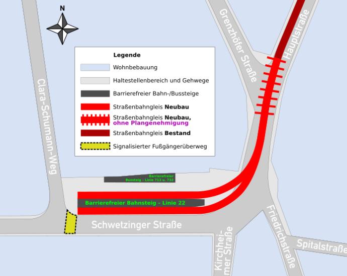 Übersicht über den barrierefreien Ausbau und die Verlängerung der Endhaltestelle 'Kirchheimer Straße'